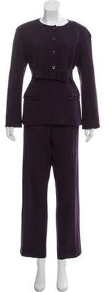 Valentino Wool Structured Pants Suit Purple Wool Structured Pants Suit
