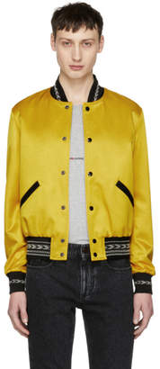 Saint Laurent Yellow Ikat Teddy Bomber Jacket