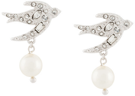 Miu Miu Miu Miu crystal and pearl embellished swallow earrings
