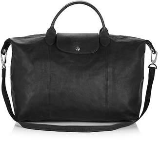 Longchamp Le Pliage Large Leather Satchel $640 thestylecure.com