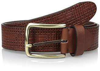 Bolliver Men's Woven Detail Belt with Bronze Buckle
