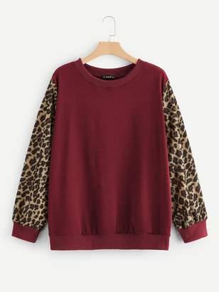 Shein Plus Drop Shoulder Leopard Sleeve Pullover