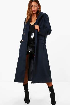boohoo Military Long Wool Look Coat