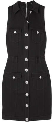 Balmain Button-embellished Denim Dress - Black