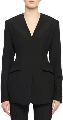 Stella McCartney Long-Sleeve V-Neck Structured Wool Blazer Top