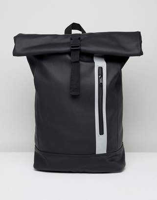 Asos DESIGN Backpack In Rubberised Finish In Black With Internal Laptop Pouch And Roll Top And Reflective Zip