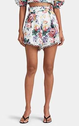 Zimmermann Women's Allia Floral Linen High-Rise Shorts - White
