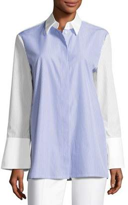 Escada Pinstripe Wide-Cuff Tunic Blouse, White/Blue