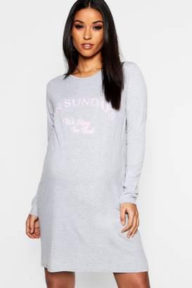boohoo Maternity Long Sleeve Slogan Nightie