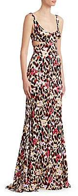 Roberto Cavalli Women's Animal Print Cutout Gown