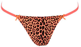 Wet Seal WetSeal Ivy Leopard Thong Neon Pink