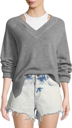 Alexander Wang Long-Sleeve Wool Raglan Sweater with Tank