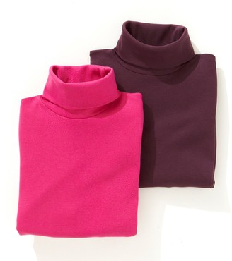 La Redoute COLLECTIONS Pack of 2 Cotton Polo Neck Tops with Long Sleeves, 3-12 Years
