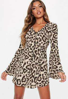 Missguided Brown Leopard Flare Sleeve Button Down Skater Dress