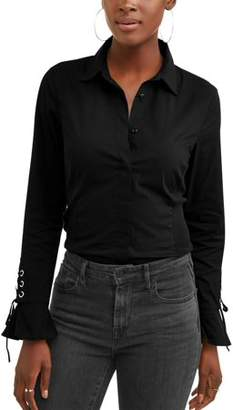 Lifestyle Attitude Women's Lace Up Sleeve Stretch Side Panel Shirt