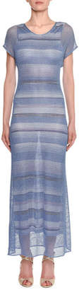 Missoni Metallic-Mesh Striped Long Sheath Dress