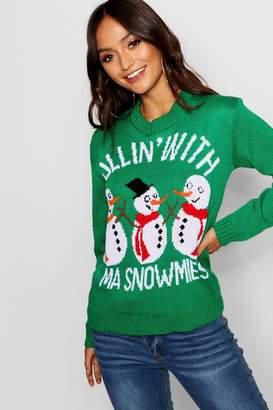 boohoo Petite Snowman Slogan Christmas Jumper