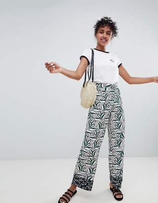 Monki Contrast Print Wide Leg Co-Ord Trousers