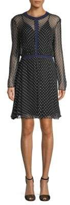 Maje Rib-Trimmed Dot Mesh Dress