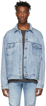Ksubi Blue Denim Oversized Oh G Acid Trip Trash Jacket