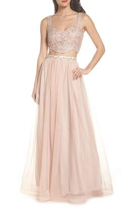 Sequin Hearts Beaded Lace Two-Piece Gown