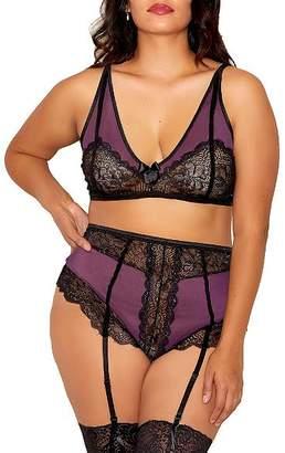 Icollection Plus Size Parisa Bra & Garter Panty Set