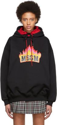 MSGM SSENSE Exclusive Black Flame Logo Double Hoodie
