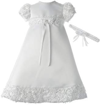 lauren-madison Christening Baptism Newborn Baby Girl Special Occasion Satin Dress Gown Outfit With Floral Soutache Trim
