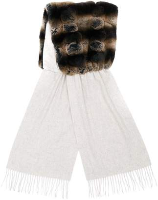 N.Peal contrast fringed scarf