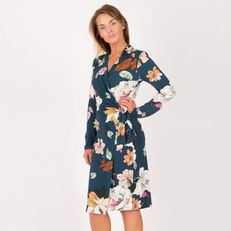 Anna Field Dark Blue Floral Print Long Sleeve Wrap Dress