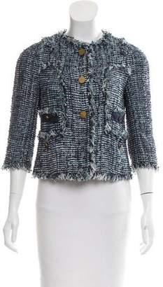Tory Burch Frayed Tweed Jacket