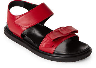 Marni Red & Black Fussbett Leather Footbed Sandals