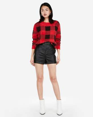 Express Super High Waisted Cuffed Faux Leather Shorts