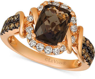 LeVian Le Vian Chocolate Quartz (1-3/4 ct. t.w.) & Diamond (5/8 ct. t.w.) Statement Ring in 14k Rose Gold