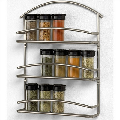 Spectrum Diversified Euro Wall-Mounted Spice Rack in Satin Nickel