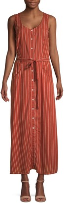 Max Studio Striped Belted Button-Front Dress