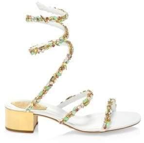 Rene Caovilla Jewel Mid-Heel Ankle-Wrap Sandals