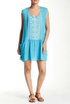 Love Stitch Drop Waist Embroidered Panel Mini Dress