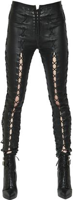 Skinny Lace-Up Stretch Leather Pants $2,611 thestylecure.com