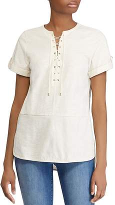 Lauren Ralph Lauren Cotton Lace-Up Tunic