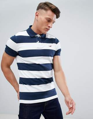Hollister Block Stripe Seagull Logo Polo in Navy