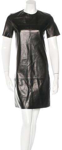 CelineCéline Leather Shift Dress