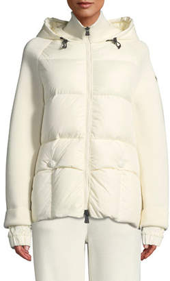 Moncler Spa Down & Knit Combo Coat w/ Hood