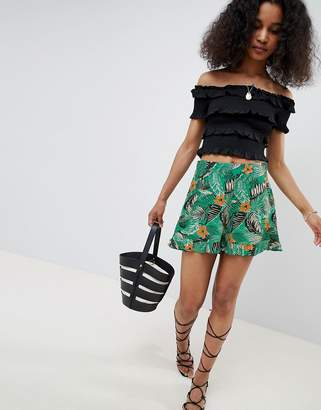 c876ae467f New Look Tropical Frill Hem Shorts