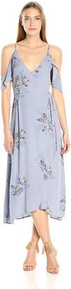 ASTR the Label Women's Gwyn Floral Print Cold Shoulder Midi Dress, Periwinkle