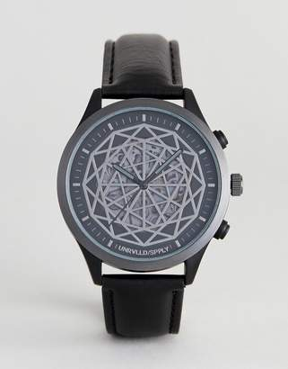 Design DESIGN watch in black with geometric exposed cogs detail