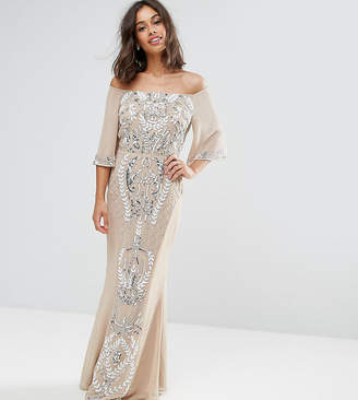 3ff8a3669ca33b Maya Petite Allover Embellished Bandeau Maxi Dress With Fluted Sleeves
