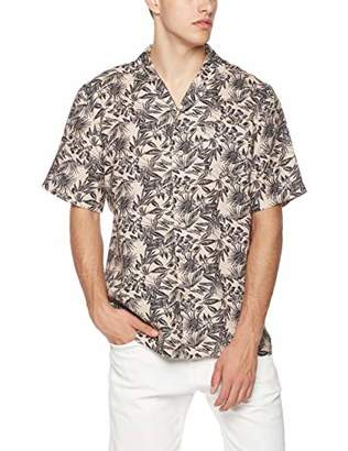 Isle Bay Linens Men's Relaxed-Fit 100% Linen Tropical Hawaiian Casual Shirt