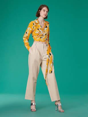 Diane von Furstenberg Pleat Front Tapered Cotton Pants