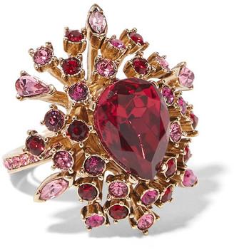 Oscar de la Renta - Gold-plated Crystal Ring - one size $325 thestylecure.com
